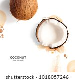 creative layout made of coconut ... | Shutterstock . vector #1018057246