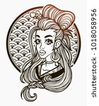 portrait of a girl in asian... | Shutterstock .eps vector #1018058956