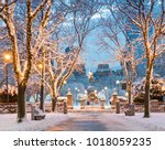 Small photo of View of Boston in Massachusetts, USA in the winter season at Commonwealth Avenue with snow and Christmas lights.
