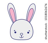 colorful smile rabbit head wild ... | Shutterstock .eps vector #1018062676