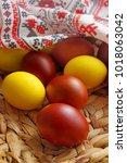 easter eggs  in the basket for... | Shutterstock . vector #1018063042