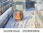 moscow  feb. 01  2018  winter... | Shutterstock . vector #1018063846