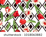 seamless pattern with red and... | Shutterstock .eps vector #1018063882