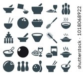 bowl icons. set of 25 editable... | Shutterstock .eps vector #1018068922