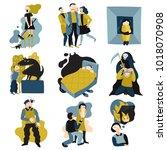 human fears panic anxiety flat...   Shutterstock .eps vector #1018070908