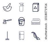household icons. set of 9... | Shutterstock .eps vector #1018071916