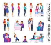 set of cartoon icons with... | Shutterstock .eps vector #1018072222