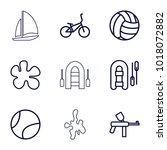 recreational icons. set of 9... | Shutterstock .eps vector #1018072882