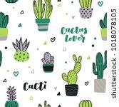 cute hand drawn seamless... | Shutterstock .eps vector #1018078105