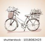 bike with big bunch of flowers. ... | Shutterstock .eps vector #1018082425