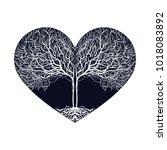 heart shape  tree silhouette.... | Shutterstock .eps vector #1018083892