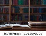 old books in the library . | Shutterstock . vector #1018090708