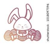 rabbit with  easter eggs vector ...   Shutterstock .eps vector #1018097596