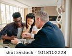 financial consultant explaining ... | Shutterstock . vector #1018102228