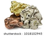 native gold  silver and copper...   Shutterstock . vector #1018102945