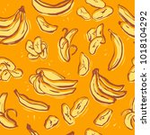 banana crisp seamless pattern.... | Shutterstock .eps vector #1018104292