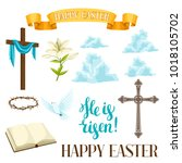 happy easter set of decorative... | Shutterstock .eps vector #1018105702