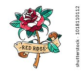 tattoo red rose with ribbon.... | Shutterstock .eps vector #1018110112