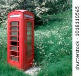 traditional uk red telephone... | Shutterstock . vector #1018110565
