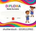 kids diploma certificate... | Shutterstock .eps vector #1018113982