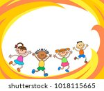 happy children run on the... | Shutterstock .eps vector #1018115665