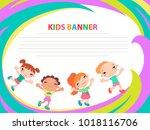 happy children run on the... | Shutterstock .eps vector #1018116706