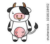 cute and happy cow wild animal | Shutterstock .eps vector #1018118452