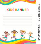 happy children run on the... | Shutterstock .eps vector #1018118518
