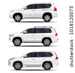 realistic suv car. set | Shutterstock .eps vector #1018120075
