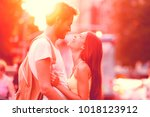 couple in love laughing hugging ... | Shutterstock . vector #1018123912