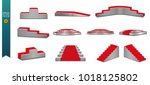 a set of podiums. round podium  ... | Shutterstock .eps vector #1018125802