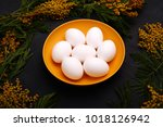 easter table setting with white ... | Shutterstock . vector #1018126942