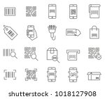 simple set of barcode related... | Shutterstock .eps vector #1018127908