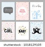 vector set of 6 color baby... | Shutterstock .eps vector #1018129105