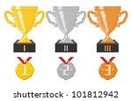 pixel trophy cups and medals.... | Shutterstock .eps vector #101812942