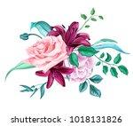 flowers. vector realistic hand... | Shutterstock .eps vector #1018131826