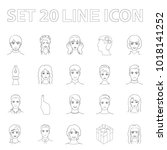 avatar and face outline icons... | Shutterstock . vector #1018141252