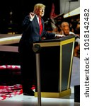 Small photo of Cleveland, Ohio, USA, 21st, July, 2016 Presidential candidate Donald Trump addresses the Republican National Convention on the final day of the convention from the podium of the Quicken Loans Arena