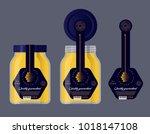 packaging for honey. honey logo.... | Shutterstock .eps vector #1018147108