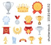 awards and trophies cartoon... | Shutterstock . vector #1018148152