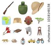 african safari cartoon icons in ... | Shutterstock . vector #1018148158