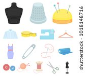atelier and sewing cartoon... | Shutterstock . vector #1018148716
