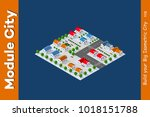 isometric view of a farm town... | Shutterstock .eps vector #1018151788