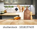 table background and kitchen... | Shutterstock . vector #1018157635