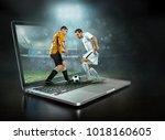 caucassian soccer players in...   Shutterstock . vector #1018160605