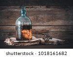 tincture or potion bottle  old... | Shutterstock . vector #1018161682