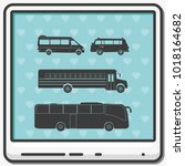 set of buses flat vector icons. | Shutterstock .eps vector #1018164682