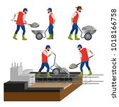 construction workers are... | Shutterstock .eps vector #1018166758