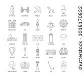 outline england touristic icons ... | Shutterstock .eps vector #1018170832