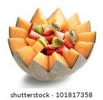 Fresh Fruit Salad In Cantaloupe ...